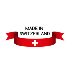 ribbon with the swiss colors made inswitzerland vector image