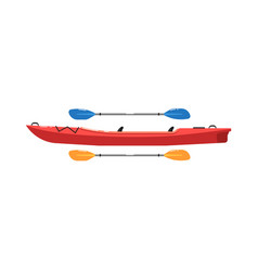 River canoe with paddle isolated on white icon vector