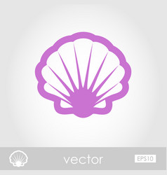 Seashell outline icon summer vacation vector