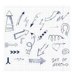 Set of hand drawn sketch arrows vector image vector image
