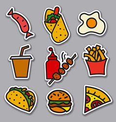 street food stickers vector image vector image