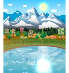 Nature landscape forest mountains lake sun vector