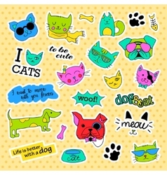 Fashion patch badges pop art cat and dog set vector