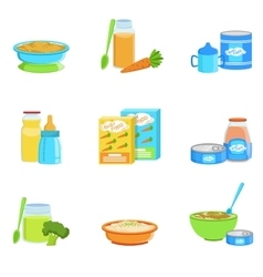 Baby food and products set of icons vector