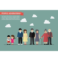 People generations in flat style vector