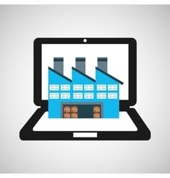 Online delivery concept factory storage vector