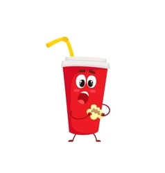 Funny soft drink paper cup character eating a vector