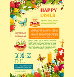 Happy easter poster template with egg and flowers vector