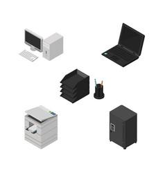 Isometric business set of desk file rack laptop vector