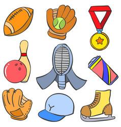 Object sport cartoon doodle style vector