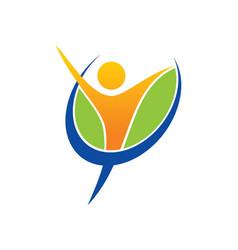 Success people happy fitness logo vector