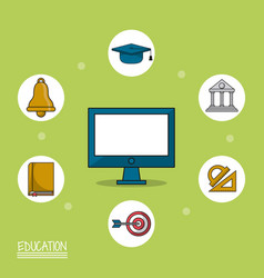 Colorful poster of education with computer in vector