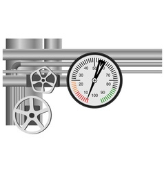 Gas pipe valve and pressure meter vector