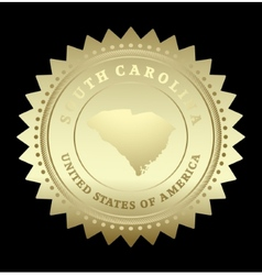 Gold star label South Carolina vector image