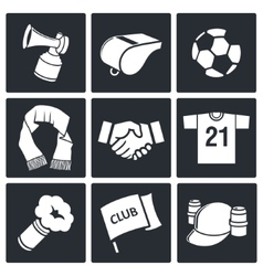 Attributes soccer fan icon collection vector