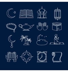 Islam icons set outline vector