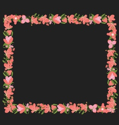 Vintage flowers rectangle frame vector