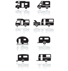 caravan camper van symbol set vector image