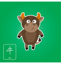 Stock icons with ox and chinese zodiac sign vector