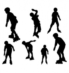 Rollerblade silhouettes vector