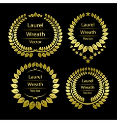 Gold laurel wreath template vector