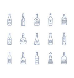 Aalcohol bottles icon set vector