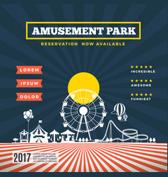 amusement park theme background vector image