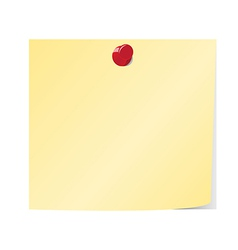 Blank yellow sticky note pinned vector