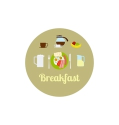Breakfast food isolated icon set vector image vector image