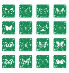 Butterfly set grunge vector