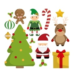 Cartoon set of chistmas design vector
