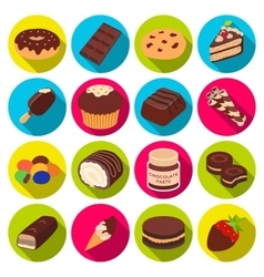 Chocolate desserts set icons in flat style big vector
