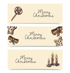 Christmas horizontal banners vintage drawings vector
