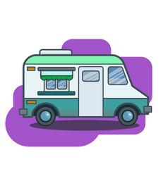 Cute retro food truck in flat cartoon vector