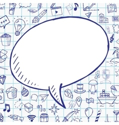 Doodle speech bubble with objects on notebook vector image