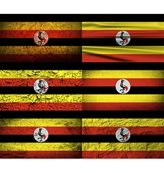Flag of uganda with old texture vector
