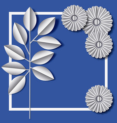 Flower and leafs frame decoration vector