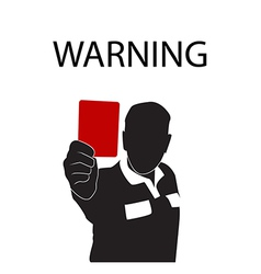 Football referee holding red card silhouette vector