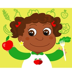 Girl with healthy food vector