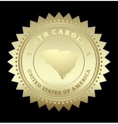 Gold star label South Carolina vector image