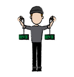 Hacker character cyber money thief image vector