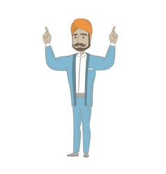 Hindu businessman standing with raised arms up vector