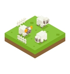 Isometric sheep ram field 3d icon symbol meadow vector