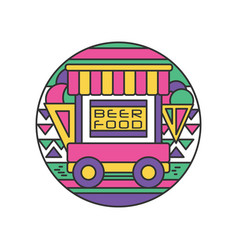 Original logo of trailer with food and beer vector