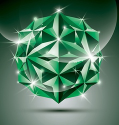 Party 3D green shiny disco ball fractal dazzling vector image