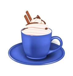 Photo Realistic Cup of Cream and Chocolate Sticks vector image