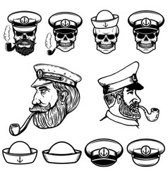 Sea captain skulls in sailor hats vector