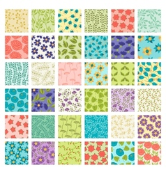 Set of 36 seamless floral patterns vector image vector image
