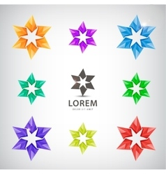 set of looped stars icons logos for vector image vector image