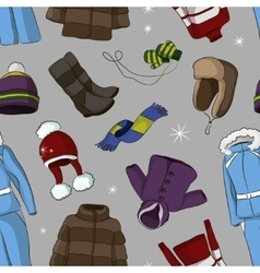 Set of warm winter clothes design pattern vector